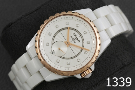 1339-CHANEL J12 WHITE CERAMIC & 18 ROSE GOLD WITH DIAMOND
